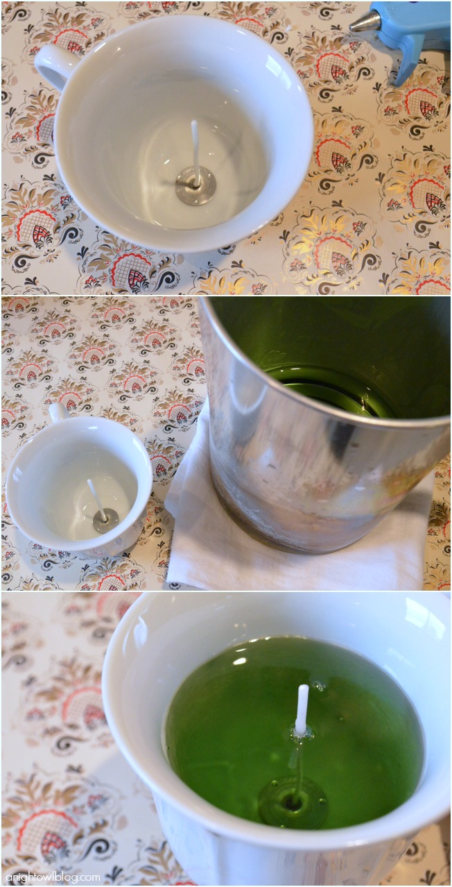 Make these DIY Teacup Candles with just a few supplies! Would make great home decor or a thoughtful gift!