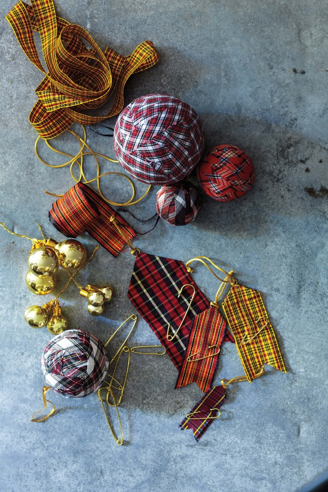 Handmade plaid and celtic-inspired ornaments