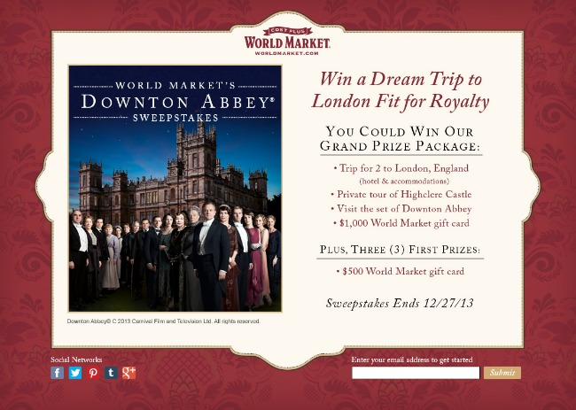 Downton Abbey World Market Sweepstakes #DoTheDownton