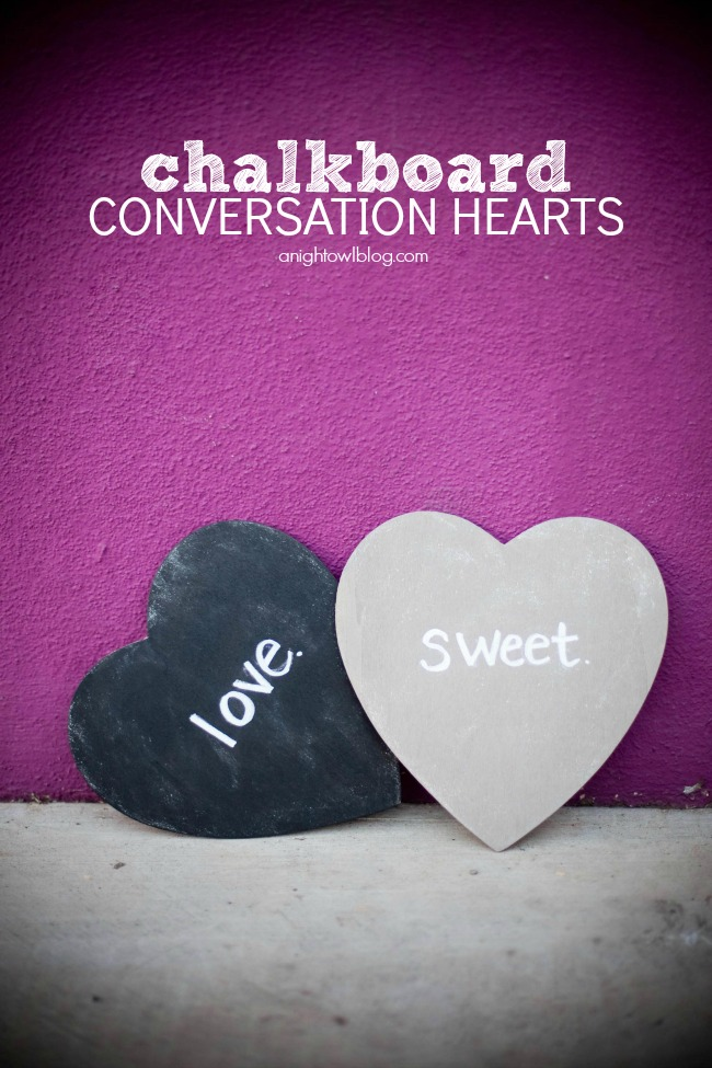 Make these adorable Chalkboard Conversation Hearts with #MarthaStewartCrafts Chalkboard Paints! #12monthsofmartha