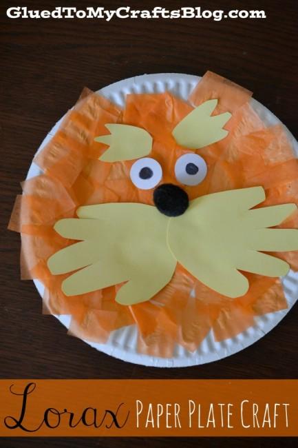 Lorax Paper Plate Craft | anightowlblog.com