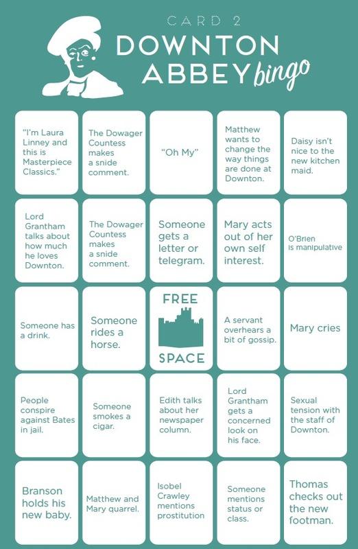 Downton Abbey Bingo by Paste