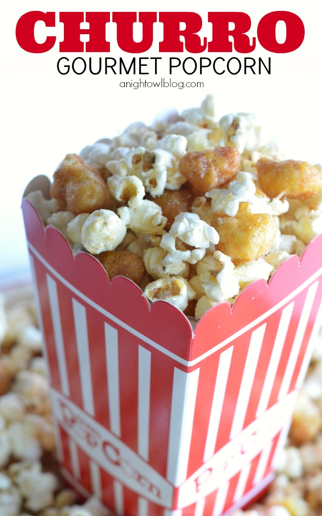 Gourmet Popcorn Recipes like this Churro Popcorn are the perfect addition to movie night! Pick up all the supplies you need at World Market!