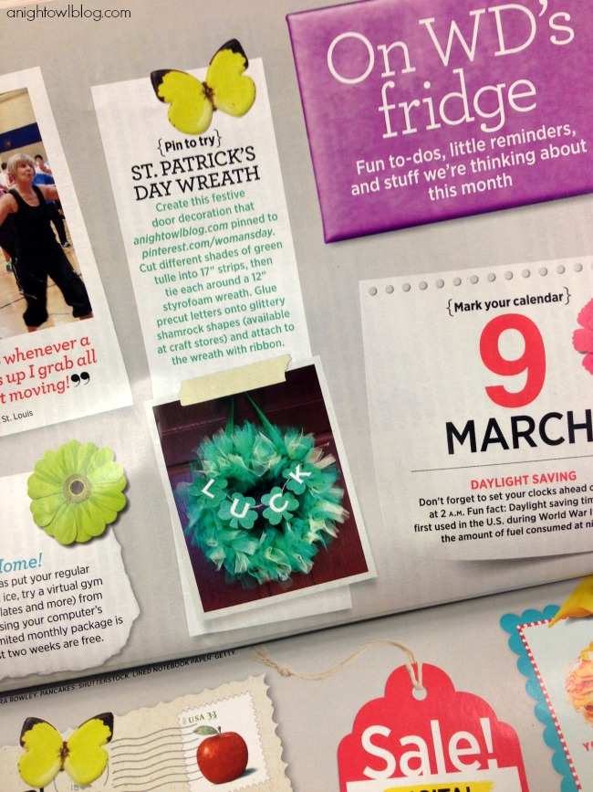 A Night Owl St. Patrick's Day Wreath Feature in March Woman's Day Issue