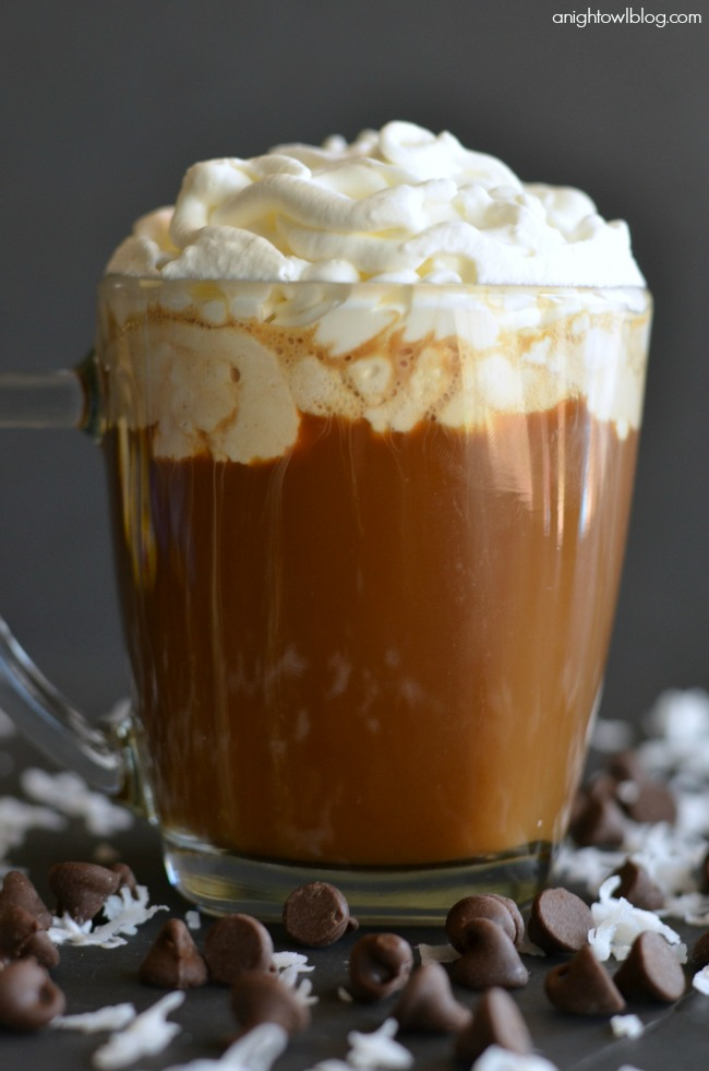 Coffee with Almond Joy Whipped Cream
