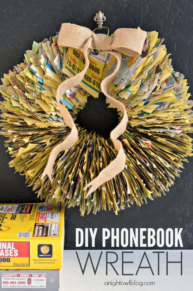 DIY Phone Book Wreath