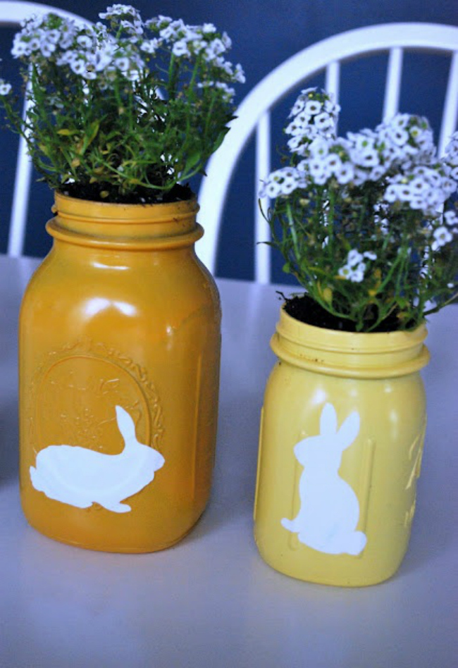Spray Painted Easter Jars