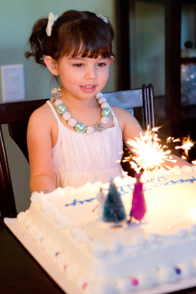 Frozen birthday cake with sparklers - Disney Frozen Birthday Party Ideas
