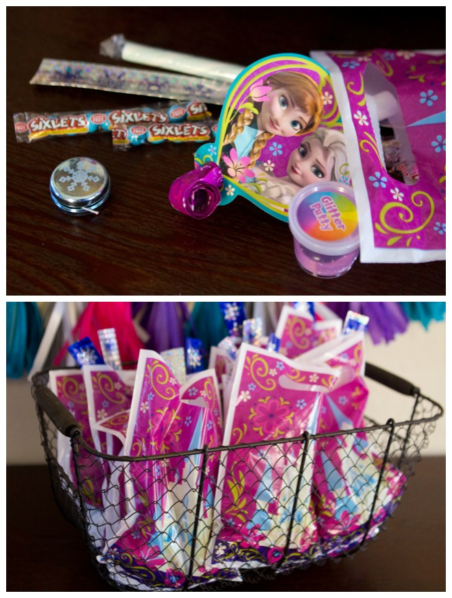 Fun filled goodie bags - Disney Frozen Birthday Party Ideas