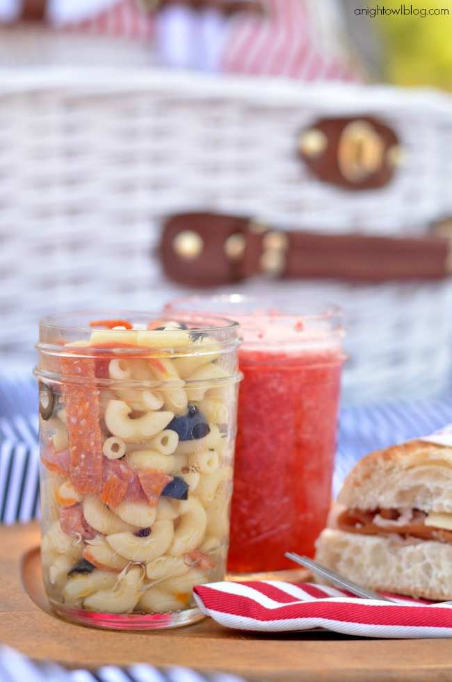 Serve picnic food in jars for easy packing and serving.