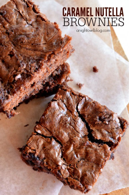 Caramel Nutella Brownies | anightowlblog.com