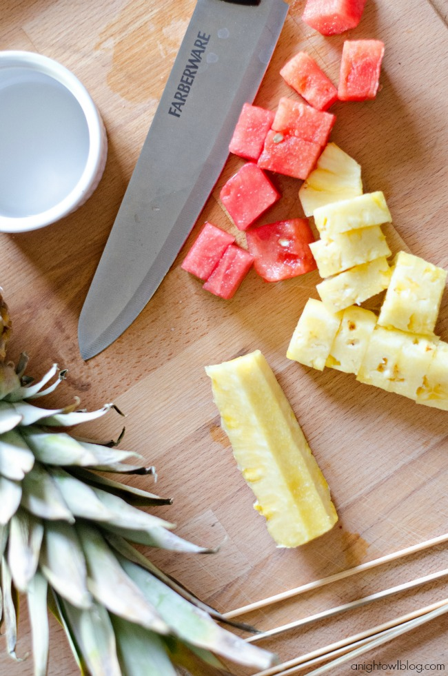 Fresh pineapple and watermelon for fruit kabobs
