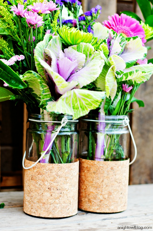 DIY Cork Flower Vases and beautiful blooms!