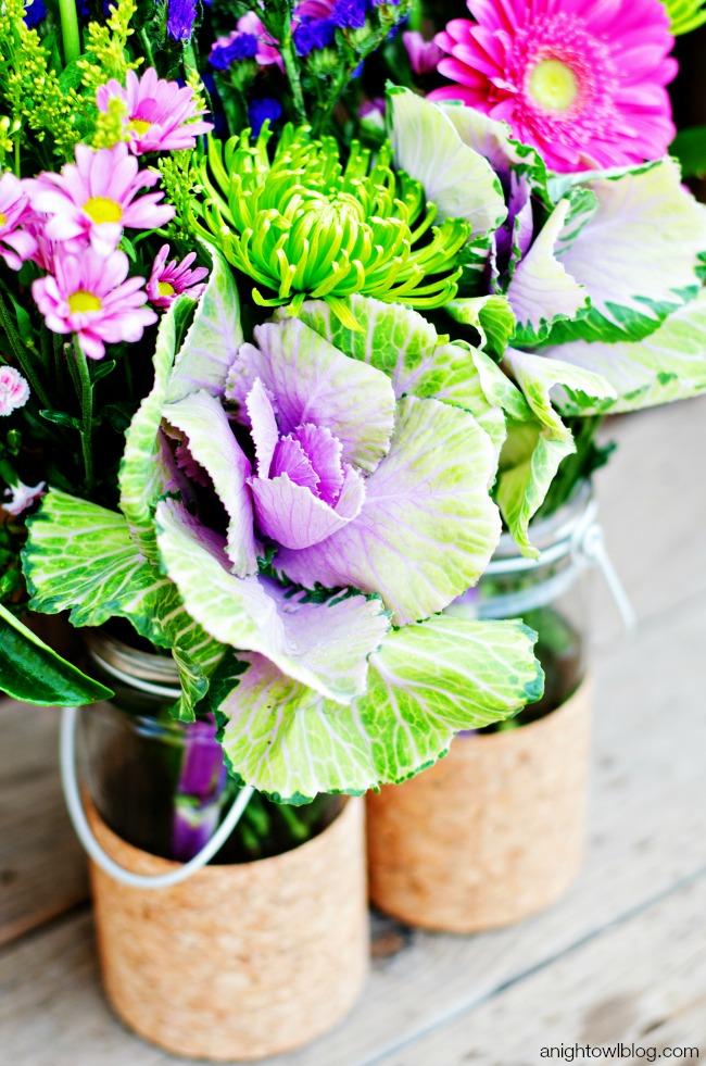 DIY Cork Flower Vases and beautiful blooms!