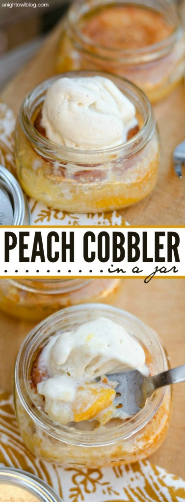Easy Peach Cobbler in a Jar