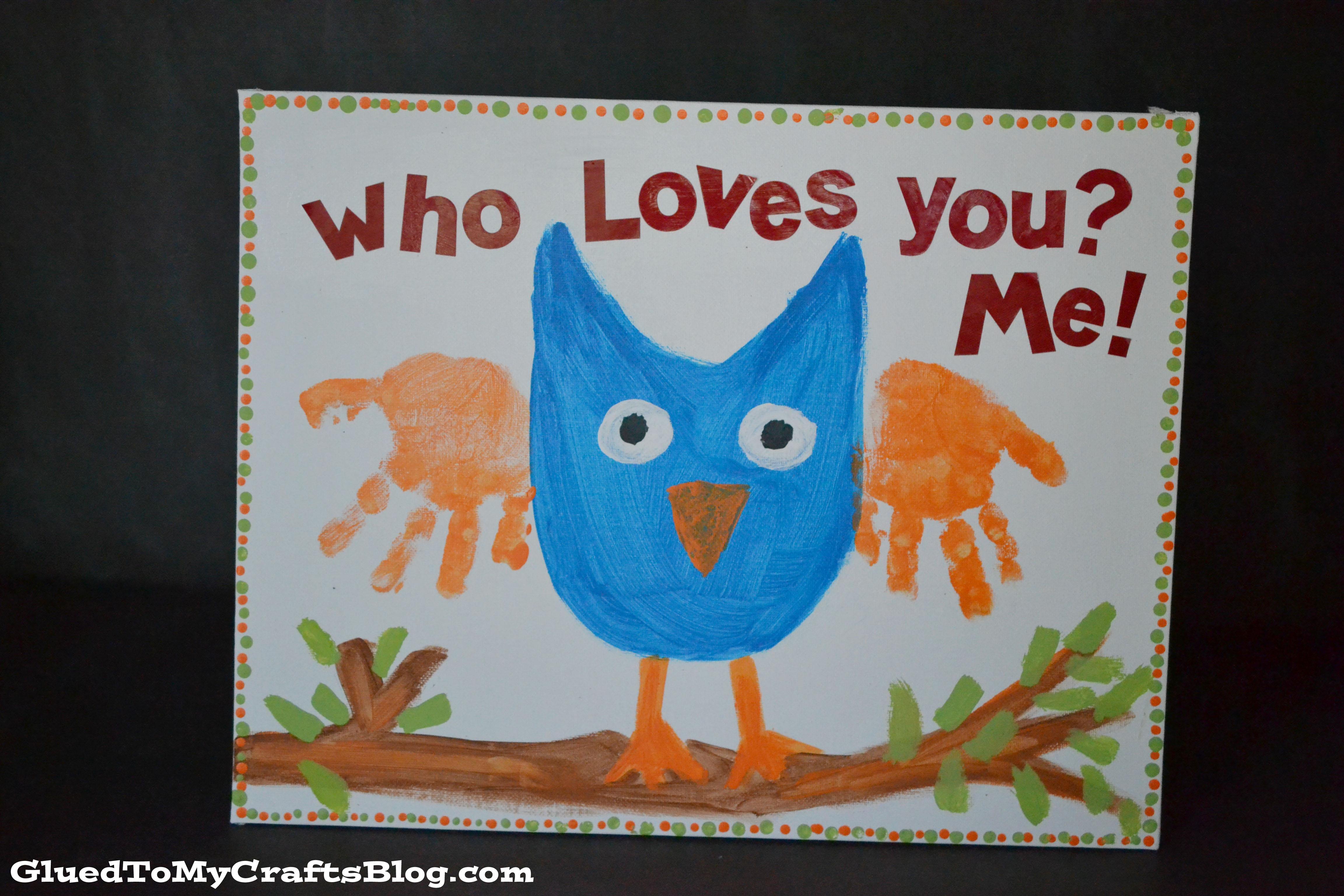 Handprint Owl Keepsake Canvas Kid Craft A Night Owl Blog