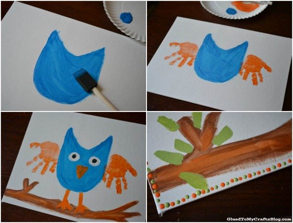 Handprint Owl Keepsake Kid Craft | anightowlblog.com