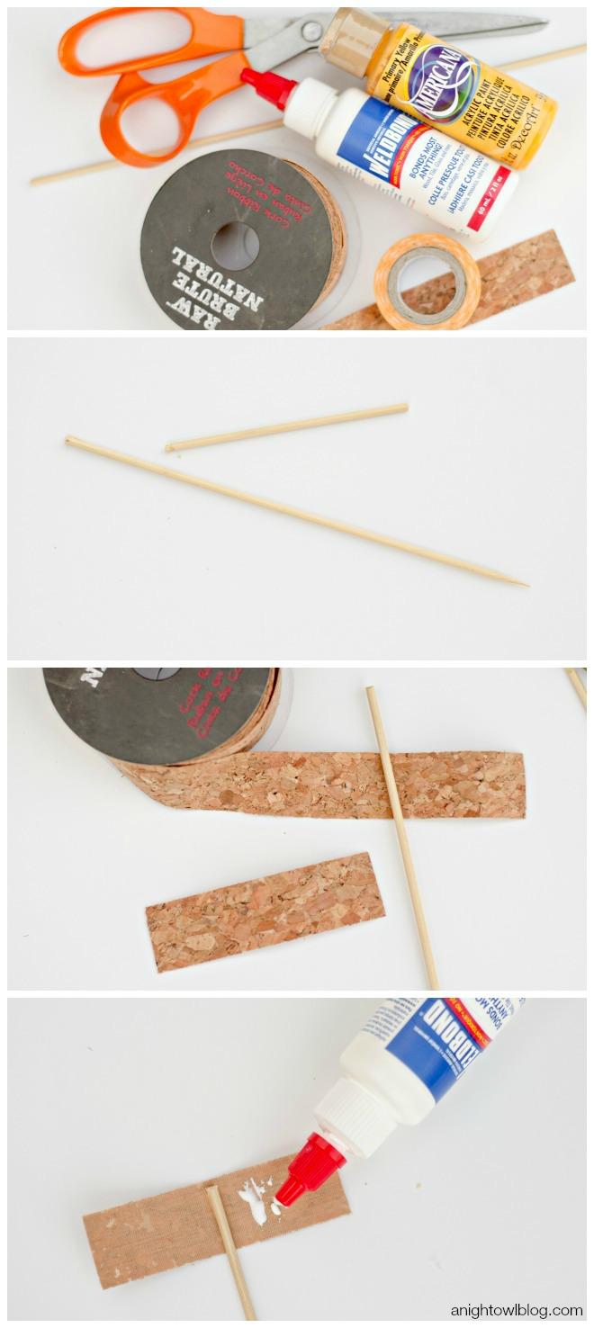 DIY Cork Cupcake Flags | anightowlblog.com