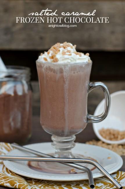 Salted Caramel Frozen Hot Chocolate | anightowlblog.com
