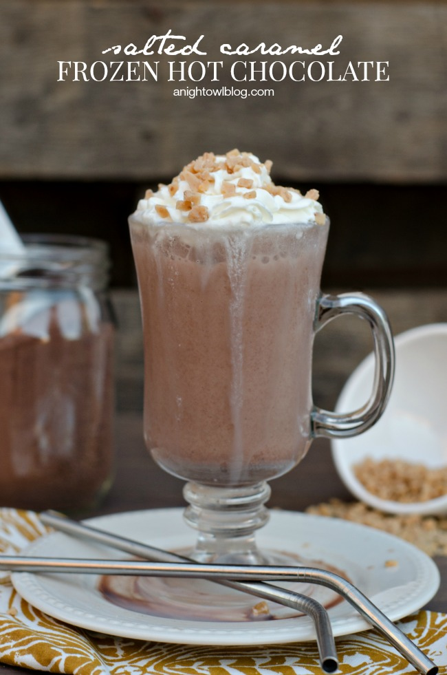 Salted Caramel Frozen Hot Chocolate | anightowlblog.com