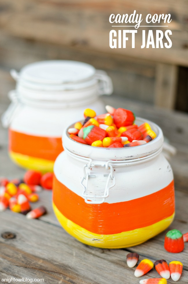 Candy Corn Gift Jars | anightowlblog.com