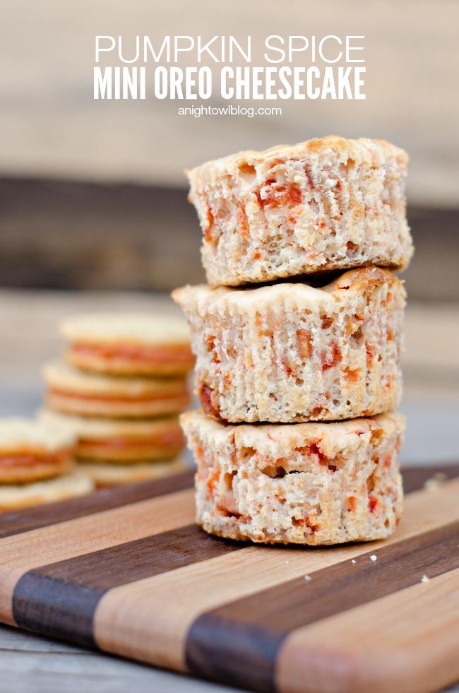 Pumpkin Spice Mini Oreo Cheesecake | anightowlblog.com