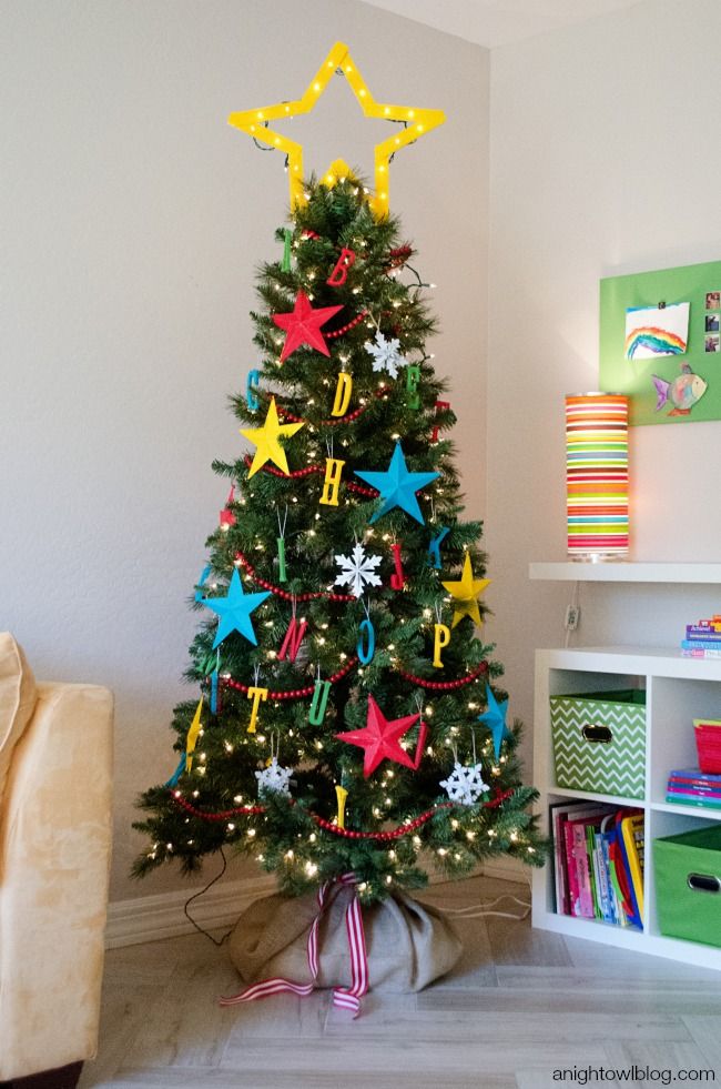 What a fun kid-themed Christmas Tree!