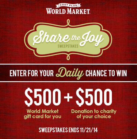 World Market Share the Joy Sweepstakes