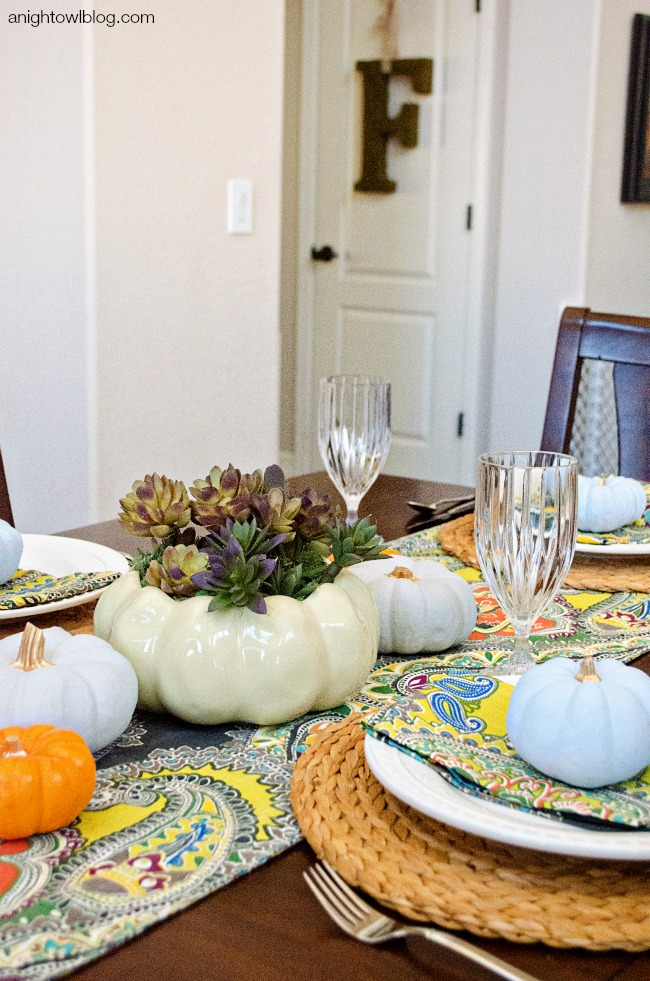 Thanksgiving Tablescape and Succulent Centerpiece | anightowlblog.com