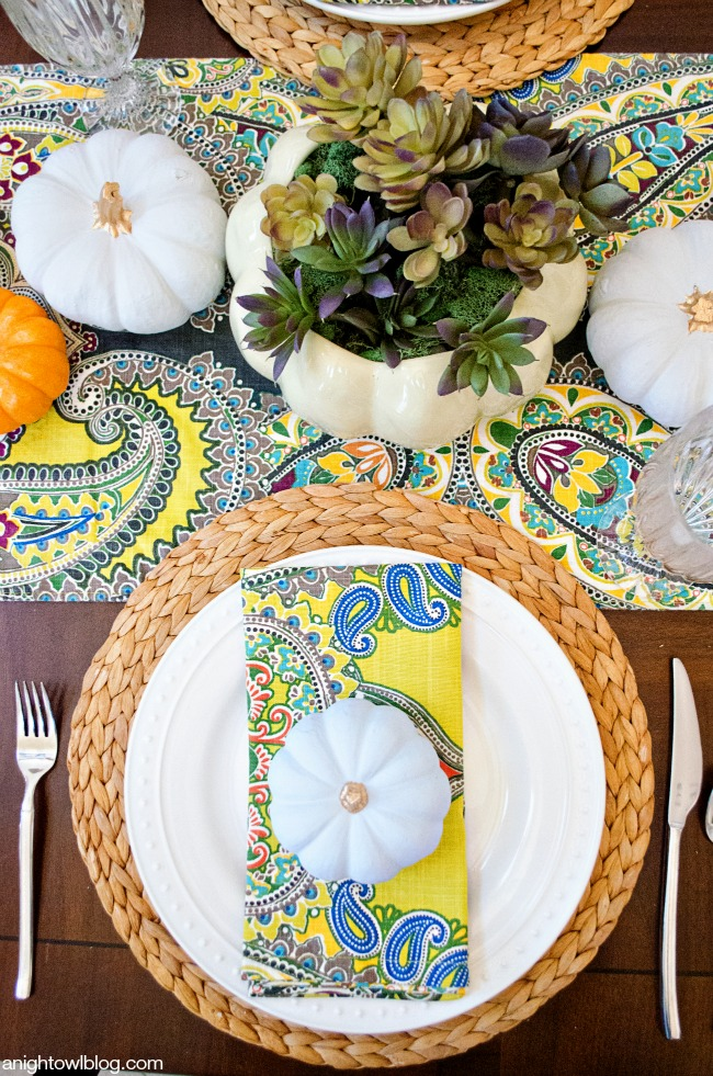 Thanksgiving Tablescape and Succulent Centerpiece   anightowlblog.com