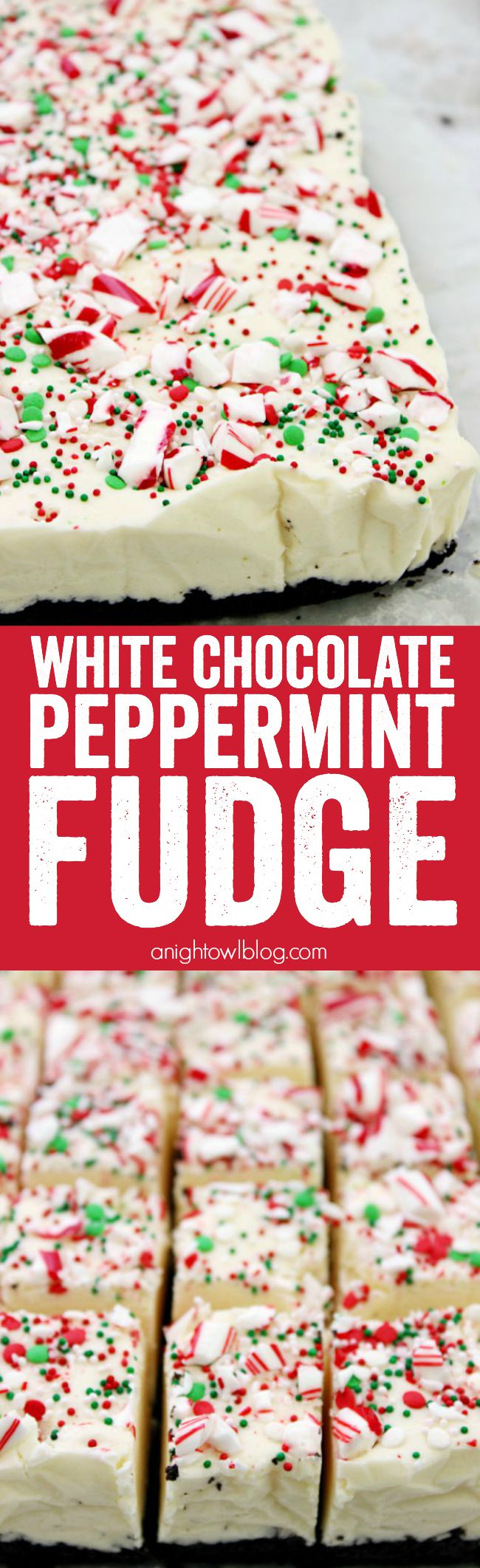 This White Chocolate Peppermint Fudge is a decadent, but easy, fudge recipe perfect for the holiday season. It also makes a great gift idea!