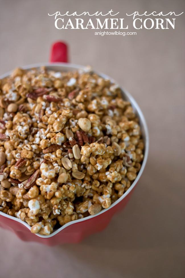 Homemade Peanut Pecan Caramel Corn | anightowlblog.com