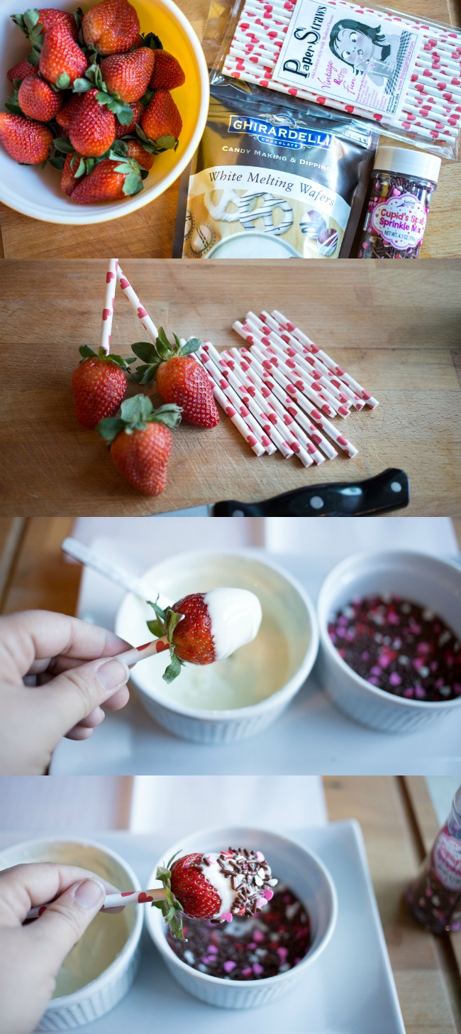 These Chocolate Covered Strawberry Pops are easy to make and such a fun treat idea for Valentine's Day!