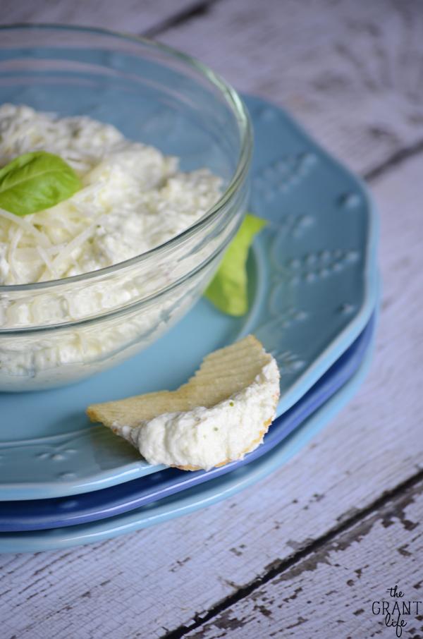 Easy and creamy basil parmesan dip