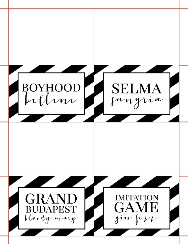 Oscars Cocktail Party Drink Labels | anightowlblog.com
