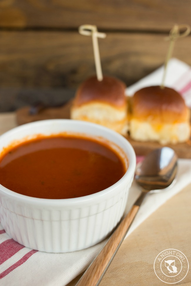 Organic Tomato and Basil Soup with Grilled Cheese Sliders