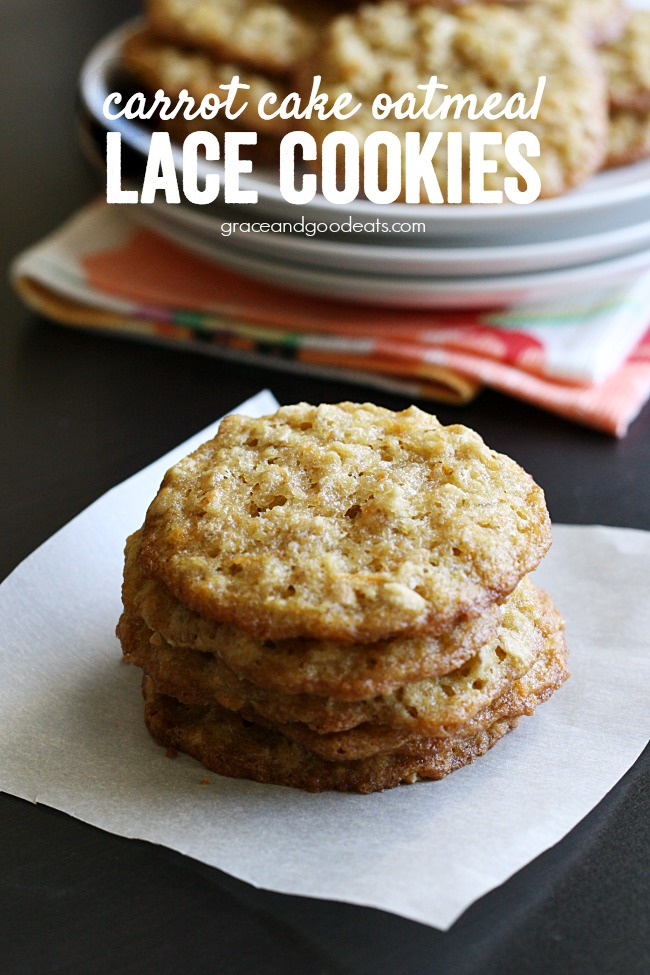 Carrot Cake Oatmeal Lace Cookies - delicious flavors of carrot cake incorporated into thin, buttery, crisp oatmeal lace cookies. A family favorite cookie that can serve a crowd.