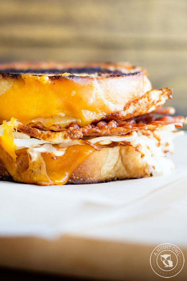 Breakfast Grilled Cheese - all the flavors of breakfast stuffed into one delicious cheesy grilled cheese sandwich.