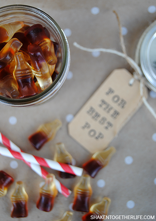 For the Best Pop Father's Day Gift! Fill a mason jar with cola gummies and add a hand stamped tag for a sweet gift for all of the guys in your life!