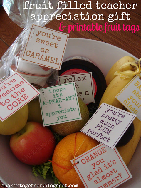 Fruit Bowl Teacher Gift + 9 printable tags from Shaken Together