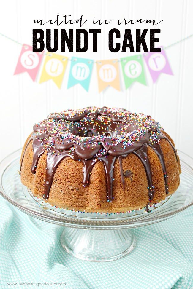 This Melted Ice Cream Bundt Cake is perfect for summer potlucks and get-togethers! When you show up with this fun cake, people will want to devour dessert first!