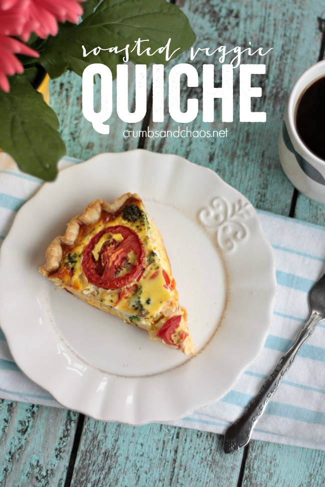 Roasted Veggie Quiche is a simple and filling breakfast dish that can be made and baked a day ahead or would be perfect for brunch.