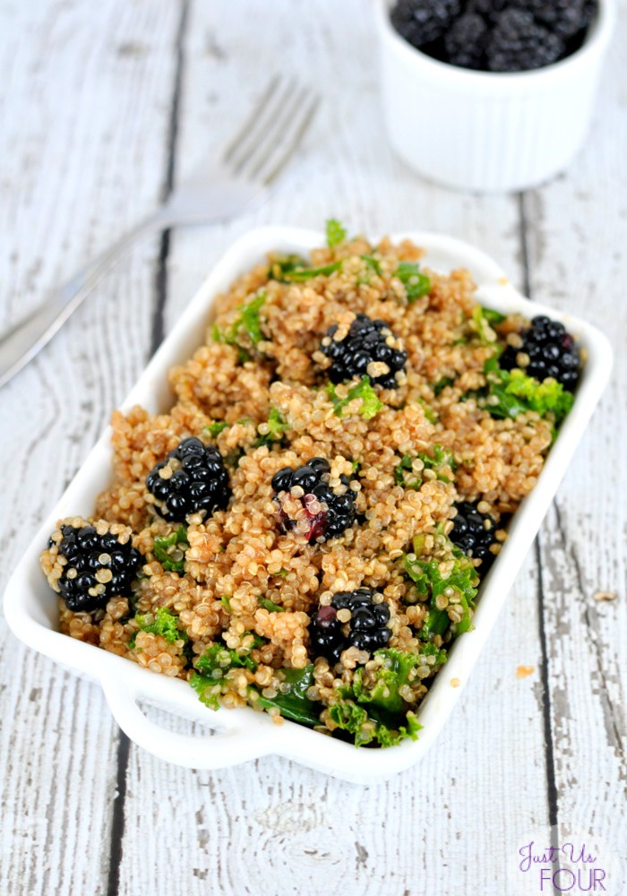 Kale Quinoa Salad is perfect for a summer dinner or lunch. Top it with fresh blackberries for a little added sweetness.