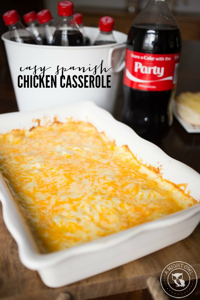 This Easy Spanish Chicken Casserole is perfect for a weeknight family meal!