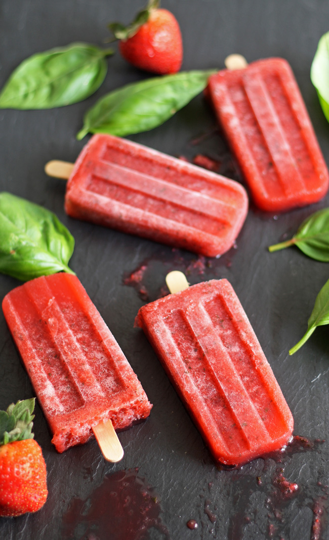 Strawberry Basil Moscato Popsicles - delicious summer flavors combined into one tasty adult treat!