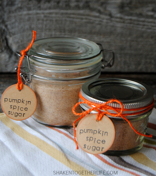 Pumpkin Spice Sugar is the taste of Fall! Sprinkle it on toast, stir it in coffee or tea, add it to syrup, cookie batter and more!