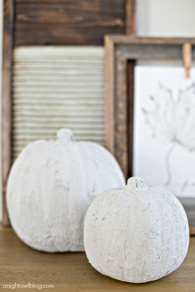 Concrete Pumpkins from A Night Owl  |  25 Creative DIY Pumpkins at www.andersonandgrant.com