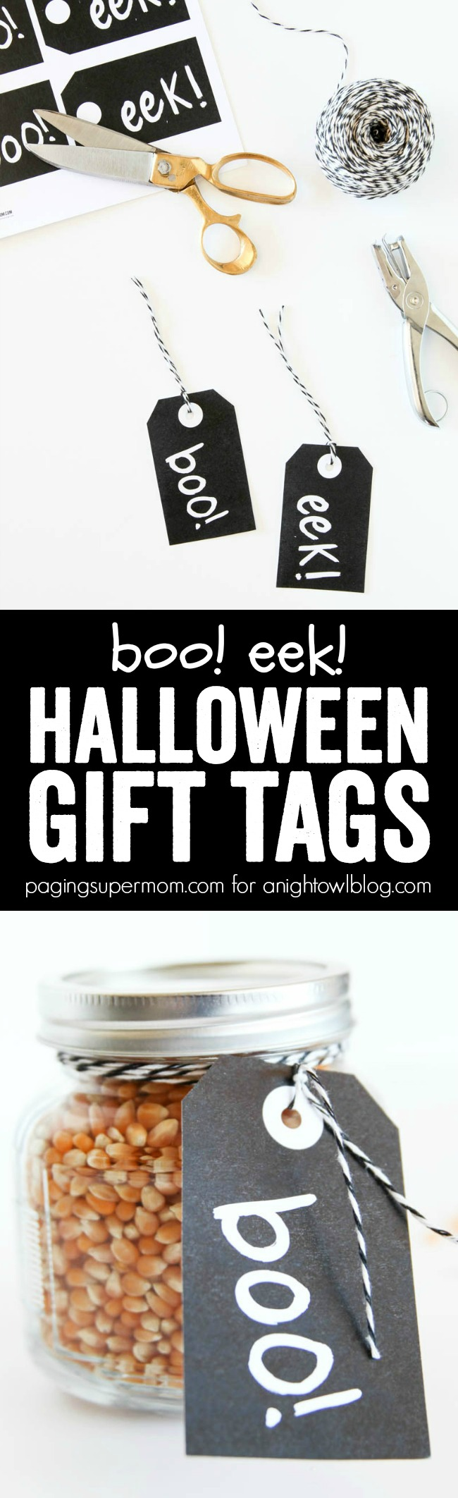 These Boo Eek Gift Halloween Tags make a fun last-minute gift idea for Halloween.