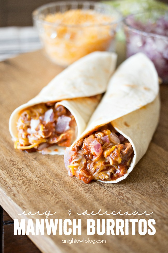 Easy Manwich Burritos are a quick and easy way to spice up dinner time!