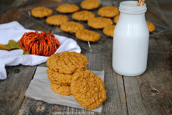 5 ingredient Pumpkin Oatmeal Cookies from Shaken Together